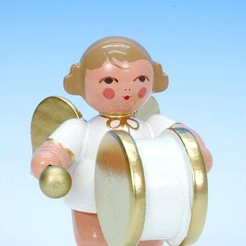 Engel weiß-gold mit grosser Trommel 6 cm