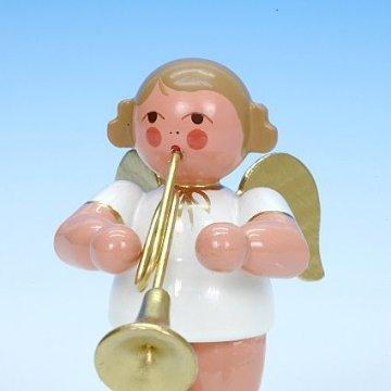 Engel weiß-gold mit Trompete 6 cm