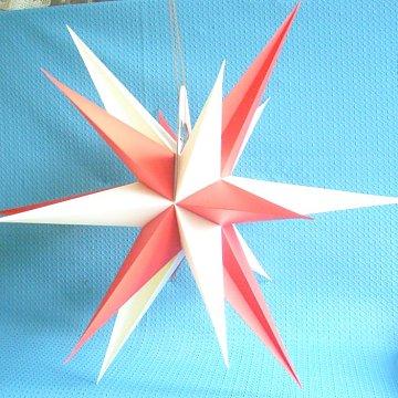 Annaberger Faltstern mit roten und weissen Spitzen 60 cm
