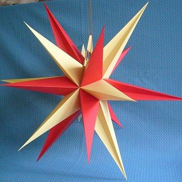 Annaberger Faltstern mit roten und gelben Spitzen 60 cm