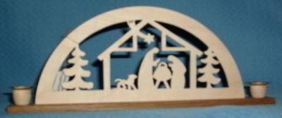 Mini-Schwibbogen Heilige Familie im Stall