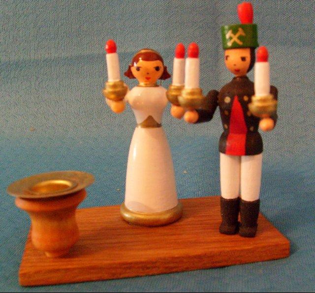 Kerzenhalter mit Engel und Bergmann
