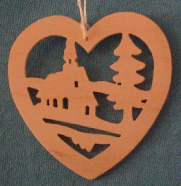 Baumbehang Herz mit Kirche