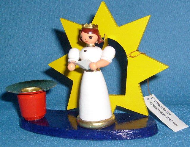 Kerzenhalter mit Engel im Stern