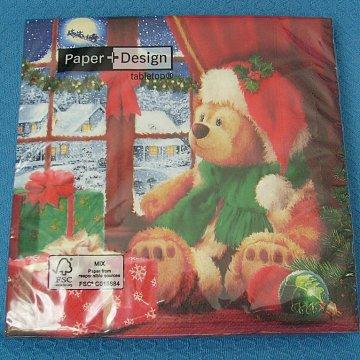 Serviette Teddys Weihnacht