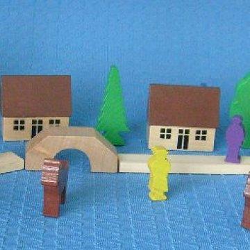 Dorf mit Wassermühle