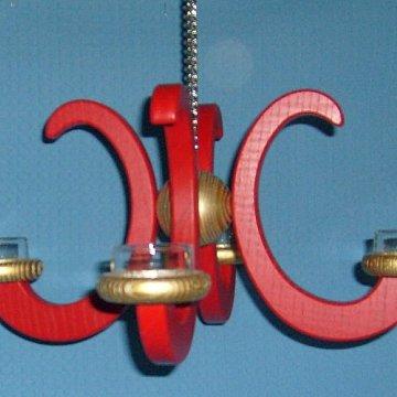 Deckenleuchter Esche rot